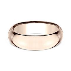 Mens 14K Rose Gold 7MM High Dome Comfort-Fit Wedding Band