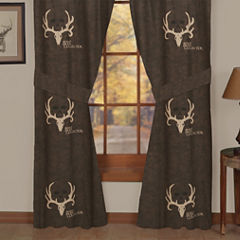 Bone Collector Rod Pocket Lined Curtains W/Tiebacks