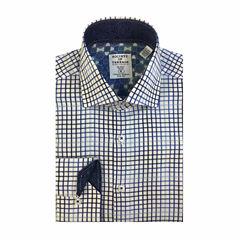 Society Of Threads Long Sleeve Woven Grid Dress Shirt