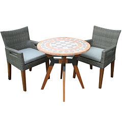Outdoor Interiors 30 in. Terra Cotta Bistro Tablewith Eucalyptus and Metal Base