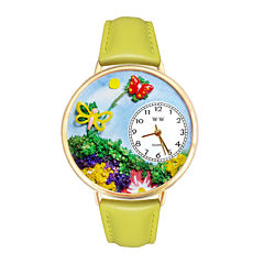 Whimsical Watches Personalized Butterfly Womens Gold-Tone Bezel Yellow Leather Strap Watch