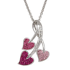 Crystal Three-Heart Sterling Silver Pendant Necklace