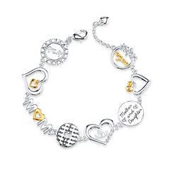 Footnotes Womens White Silver Over Brass Link Bracelet