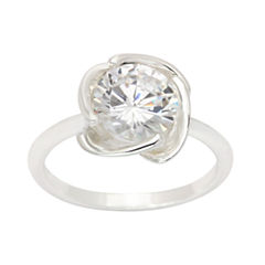 Sparkle Allure Womens Lab Created Clear Silver Over Brass Cocktail Ring