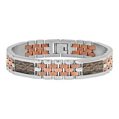 Mens Two-Tone Stainless Steel and Brown IP Bracelet