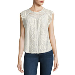 Rewind Short Sleeve Round Neck Lace Blouse-Juniors