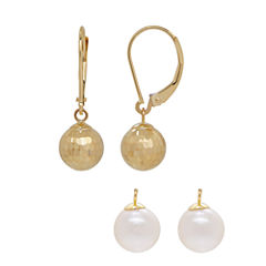 2-pc. White Pearl 14K Gold Earring Sets