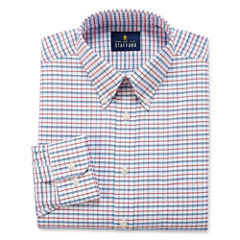 Stafford Travel Easy-Care Big And Tall Long Sleeve Woven Grid Dress Shirt