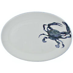 Abbiamo Tutto Blue Crab Oval Ceramic Serving Platter