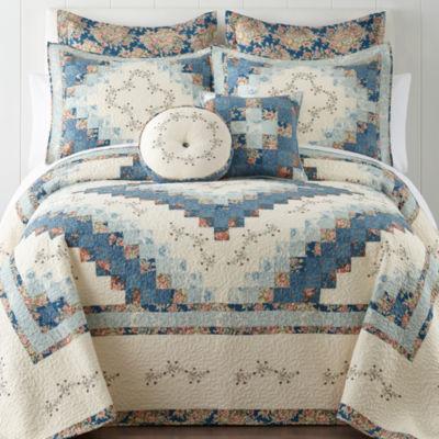 home expresions cassandra blue pieced bedspread u0026 accessories