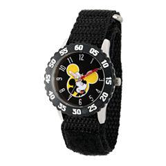Disney Mickey Mouse Boys Black Strap Watch-Wds000154
