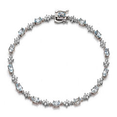 Genuine Aquamarine and Lab-Created White Sapphire Sterling Silver Tennis Bracelet