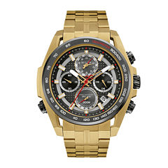 Bulova® UHF Precisionist Mens Gold-Tone Stainless Steel Chronograph Watch 98B271