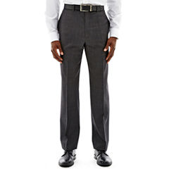 Claiborne® Charcoal Herringbone Flat-Front Stretch Suit Pants - Classic Fit