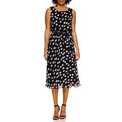 MSK Sleeveless Polka Dot Fit & Flare Dress