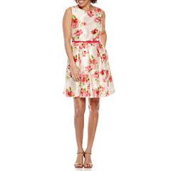 R & K Originals Sleeveless Belted Fit & Flare Dress-Petites