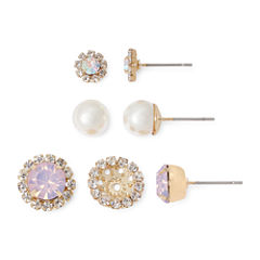 Vieste® Crystal and Simulated Pearl Silver-Tone 3-pr. Earring Set and Jacket