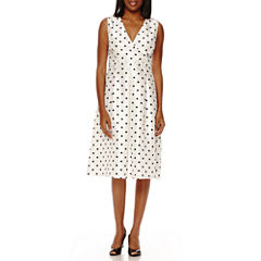 Black Label by Evan-Picone Sleeveless Polka Dot A-Line Dress