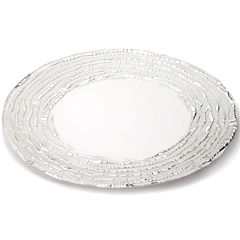 Classic Touch Trophy Set of 4 Glass White Silver Design Plates