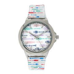 Womens Silver-Tone Arrow Printed Strap Watch