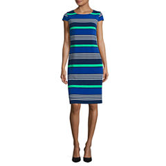 Liz Claiborne Short Sleeve Stripe Shift Dress