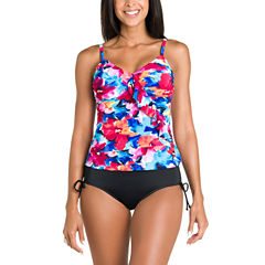 Jamaica Bay® Pretty Pleats Diagonal Ruffle Tankini Swim Top