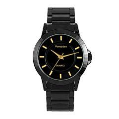 Hampden Mens Black-Tone Personalized Bracelet Watch