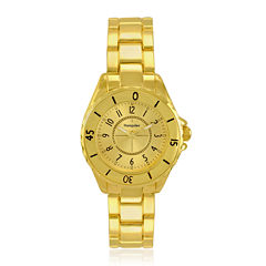 Hampden Womens Gold-Tone Personalized Bracelet Watch