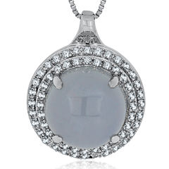 Genuine Blue Chalcedony & White Sapphire Sterling Silver Pendant Necklace