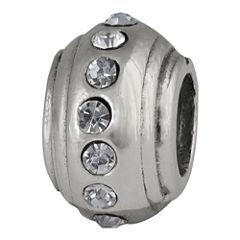 Forever Moments™ Sterling Silver Crystal Stopper Charm Bracelet Bead