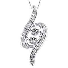 Love in Motion Womens 1/2 CT. T.W. White Diamond 10K Gold Pendant Necklace