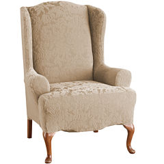 SURE FIT® Stretch Jacquard Damask Wing Chair Slipcover