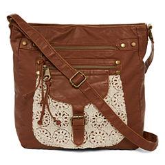 Arizona Single-Pocket Crochet Trim Crossbody Bag