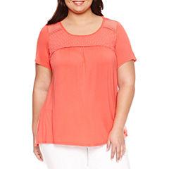 Alyx Short Sleeve Crochet T-Shirt-Plus