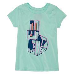 Short Sleeve Crew Neck T-Shirt-Big Kid Girls