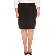 Liz Claiborne Straight Side Zip Pencil Skirt-Plus