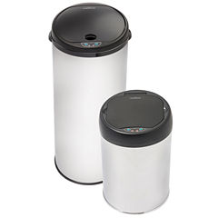 Motion Activated Stainless Steel Touch-Free Sensor Trashcan Set, 2-Pack, 13 and 4 Gal