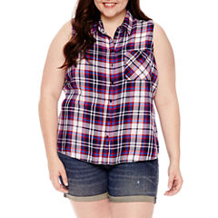 Arizona Sleeveless Pattern Button-Front Shirt-Juniors Plus