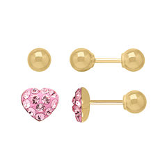 Infinite Gold™ Kids 14K Yellow Gold Pink Crystal-Accent Heart and Ball Stud 2-pr. Earring Set