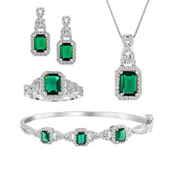 Womens 4-pc. Simulated Emerald & Cubic Zirconia Silver Over Brass Jewelry Set
