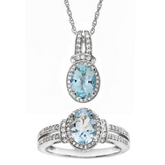 Genuine Aquamarine and Lab-Created White Sapphire Pendant Necklace and Ring Set