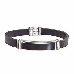 Mens Black Onyx Sterling Silver Id Bracelet