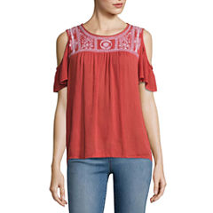 St. John's Bay Short Sleeve Round Neck Woven Blouse