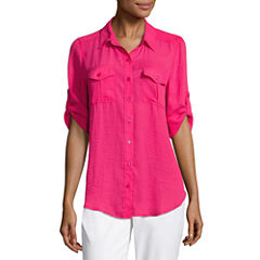 Liz Claiborne 3/4 Sleeve Roll Tab Sleeve Camp Shirt