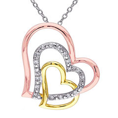 1/10 CT. T.W. Diamond Tri-Tone Heart Pendant Necklace