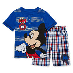 Disney by Okie Dokie 2-pc. Mickey Mouse Short Set Toddler Boys