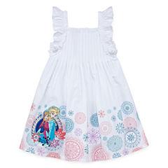 Disney Short Sleeve Fitted Sleeve Frozen A-Line Dress - Big Kid