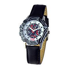 Marvel Spiderman Tween Black Leather Strap Watch