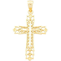 14K Gold Filigree Cross Charm