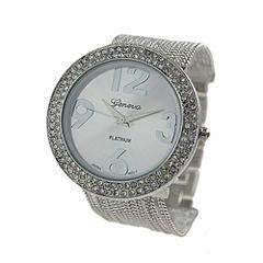 Geneva Platinum Womens Silver Tone Bracelet Watch-9240